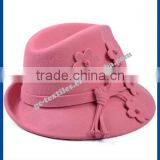 hot new products for 2014 Fall and winter Pure wool jazz hat flowers ladies hats felt cat wholesale fedora hat