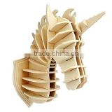 DIY 3D Wooden Animal Unicorn Head Assembly Puzzle Art Model Kit Toy Home Decoration