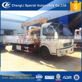 CLW 4x2 RWD 4 tons tow wrecker truck mounted with 4 tons crane 6200x2480mm flatbed deck board