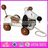2015 Funny Kids Pull String Karting Toy,Dog design Children Wooden Scrat Pull Toy,Christmas wooden pull and push toy WJ276115