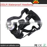 KC-002B 350LM XML T6 Waterproof Head Lamp Led Rechargeable Headlamp Headlight With Zoomable Headband