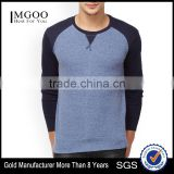 Men Blue Solid Round Neck Gym T-Shirt Waist Length Tee Long Raglan Sleeves Male Cotton Sport Tee Solid Custom Color