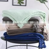 2017 hot selling knitted tassel blankets