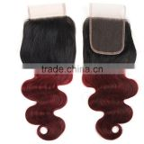 8A Grade Body Wave 4X4 1B/ 99J Ombre Lace Closure 100% Ombre Peruvian Human Hair Extension