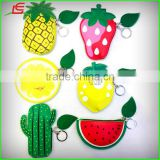 Korea partysu fruit mini PU card bag key case wholesale