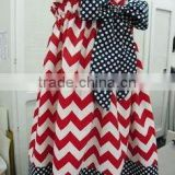 Hot sale designs for young girls bowknot baby girl chevron sundress cotton pageant party dresses
