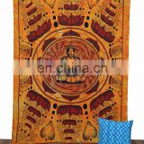 Queen Indian Buddha Bohemian Hanging Wall Hippie Tapestry Throw Ethnic art Bed Decorative,Tapestry coverlet Home Decor Yellow