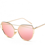 Oversized Cat eye mirrored Light metal women Sunglasses 2018