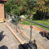 High quality outdoor stainless steel glass railings for concrete stairs / balcony