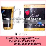 European Style Hot Sale White Ceramic Coffee Mug with Teacher's Day Design for Tall Promotion Mug