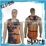 Fashion Polyester Digital Sublimation Printed custom stringer Tank Top Custom Sublimated Gym singlet