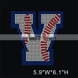 Custom letter V motif iron on hotfix rhinestone transfer for sportsman' s shirt wholesale
