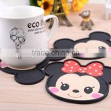 Cheap lovely color design cartoon silicone rubber cup mat/promotional cartoon shape silicone cup mat