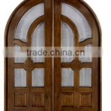 Solid Wood Mahogany Entry Door Double Prehung Prefinished Dark Mahogany Finish