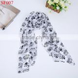 SF007 High quality beautiful lady temperament chiffon silk neck scarf white scarf with skull crown