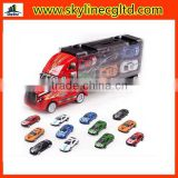 Plastic truck with portable box,cheap price toy truck with 12 small alloy car