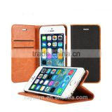 Business name card holder card slot leather case cover for iPhone 6 with genuine leather