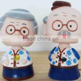 funny decorative plastic vynil grandparents figure coin bank,3d plastic cartoon vynil coin bank