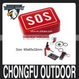 2016 portable SOS camping survival kits self help emergency gear tool box set wholesale hot