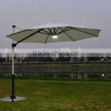 300*300 leisure outdoor solar patio umbrella with 32 led lights handle crank and USB charger and marble base