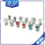 Double Beautiful Ball Colored Crystal Earrings Jewelry Body Piercing Ear Stud Fashion Jewelry