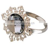 Icibgoods Round Metal Faux Diamond Ring san qin Napkin Ring with Set of 12 Rhinestone Silver color
