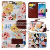 Luxury flower cloth PU Leather Flip Credit Card Wallet Stand Case Skin For Samsung Galaxy S6