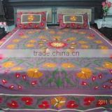 Pure Cotton Fabric Full Size Suzani Embroidered Bed Cover Bedding Set Manufactures In India