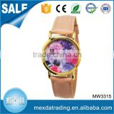 Popular design printing flower dial japan movement quartz sr626sw price watch for women