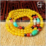 Natural Semi-Precious Gemstone Yellow Agate Tibetan Buddhist Malas Prayer Beads Bracelet Necklace