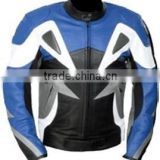 Blue Racing Leather Motorcycle Jacket
