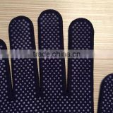 China famous brand Cotton string knitted PVC dotted gloves