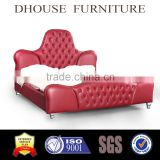Classical High headboard design chesterfield button red leather bed King size DH020