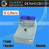 Counter Top Deep Fryer Oil Filter Machine 1 Tank 1 Basket 6L CE Approved Food Processing Equipment (SY-TF16A SUNRRY)