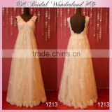 Floor length ivory bridesmaid dress lace cap sleeve