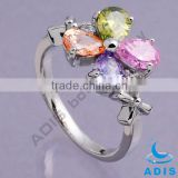 Copper finger rings with colorful zircons, fashion body jewelry