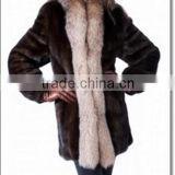 Natural Genuine Mink Coat with Fox Fur Border Women Gorgeous Fur Jackets Wholesale/Retail