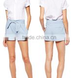 2014 China supplier pale blue high-rise shorts with attached tie waist belt woman sexy teens hot pants shorts