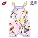 beautiful cute posh girls special design organic cotton romper printed allover flower romper baby clothes