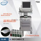 Deep Wrinkle Removal Portable Multifunctional 3 Cartridge Hifu Machine / Hifu Face Lift 2000 Shots