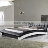 Luxury Arched Shape Black/White Leather Double Bed for Hotel