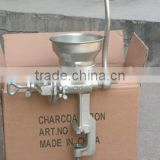 handle operating meat mincer with silver paint