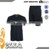 round neck polyester dry fit knit tennis t-shirt woven shorts tennis active jersey