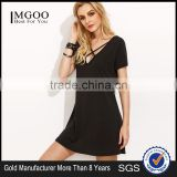 Black Deep V Neck Criss Cross Dress Polyester Spandex Summer Short Sleeve Casual Plain Short Dress
