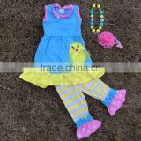 2015 new baby girl blue & yellow easter stripe pant set outfits with matching necklace and headband