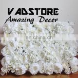 2017 new beautiful white silk dense flower wall love beauty vintage wedding stage flower wall photo shoot backdrop flower wall