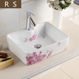 Bathroom chaozhou factory ceramic new sanitary ware single hole flower design square countertop art wash hand sink