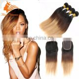Overnight Shipping Hot Seller Supplied Top Grade Human Virgin Hair Lace Closure With Bundles