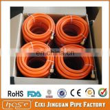 CE prove brass connector fittings orange color braided PVC LPG gas hose, PVC gas pipe for cooking and oven use