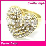 Cheap hot sale stainless steel pave crystal ring